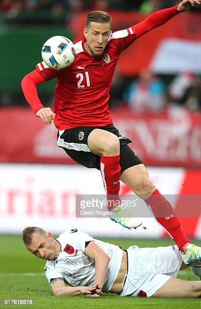 Mark Janko of Austria scores the first goal during the international friendly match between Austria and Albania at the ErnstHappelStadion on March 26...