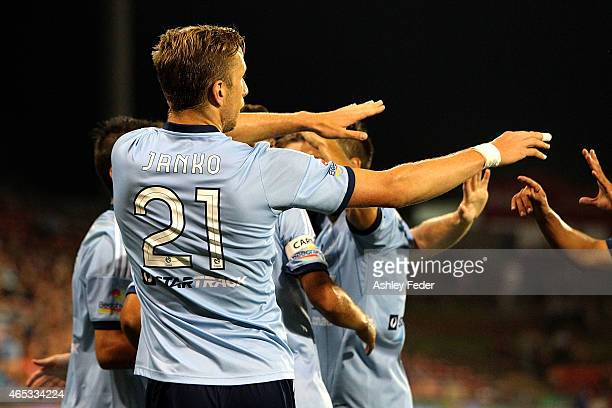 Mark Janko of Sydney FC celebrates his goal with team mates during the round 20 ALeague match between the Newcastle Jets and Sydney FC at Hunter...