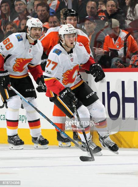 Mark Jankowski and Jarmir Jagr of the Calgary Flames skate against Ivan Provorov of the Philadelphia Flyers on November 18 2017 at the Wells Fargo...