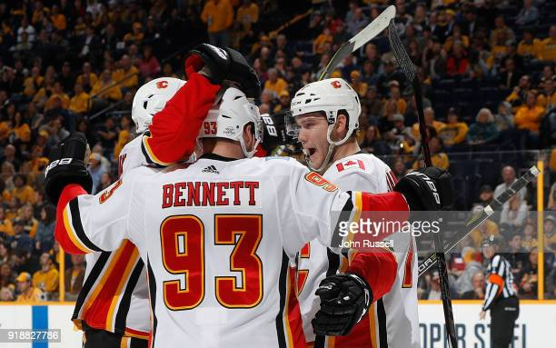 Mark Jankowski celebrates his goal with Sam Bennett of the Calgary Flames against the Nashville Predators during an NHL game at Bridgestone Arena on...