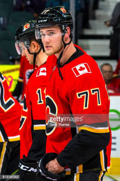 Mark Jankowski of the Calgary Flames at warm up in an NHL game on February 1 2018 at the Scotiabank Saddledome in Calgary Alberta Canada