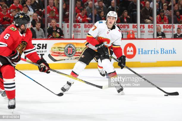 Mark Jankowski of the Calgary Flames controls the puck in the third period against the Chicago Blackhawks at the United Center on February 6 2018 in...