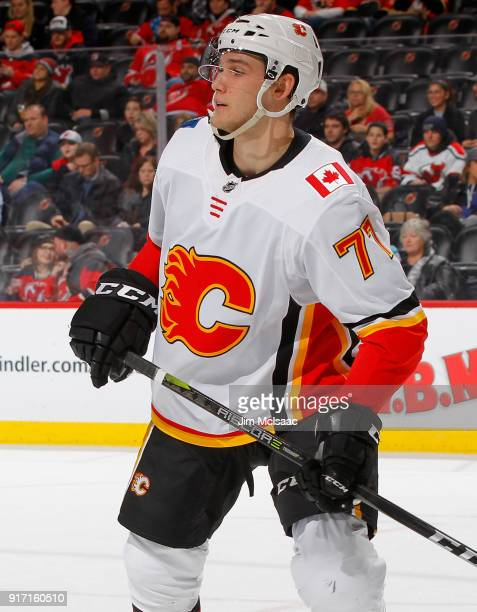 Mark Jankowski of the Calgary Flames in action against the New Jersey Devils on February 8 2018 at Prudential Center in Newark New Jersey The Flames...