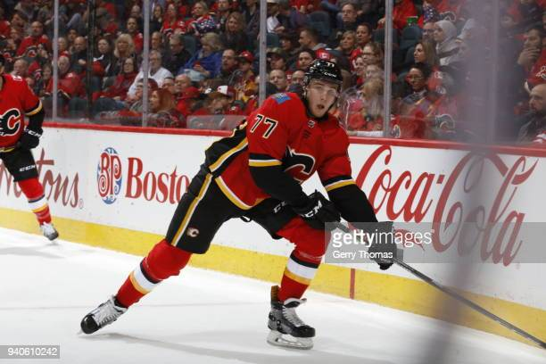 Mark Jankowski of the Calgary Flames skates against the Florida Panthers during an NHL game on February 17 2018 at the Scotiabank Saddledome in...