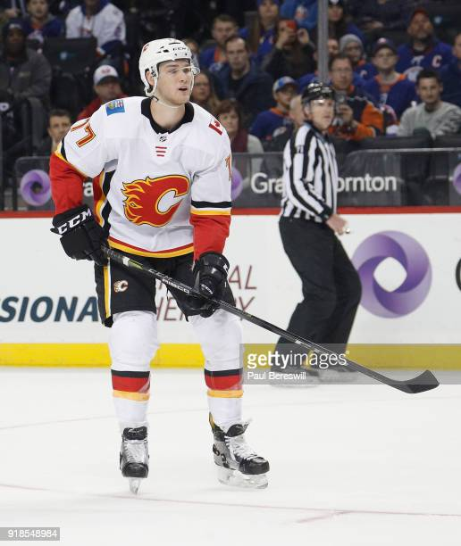 Mark Jankowski of the Calgary Flames skates in an NHL hockey game against the New York Islanders at Barclays Center on February 11 2018 in the...