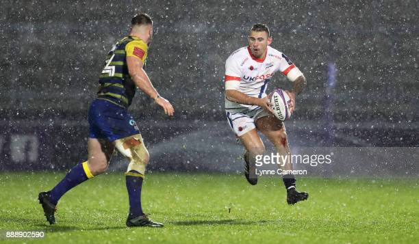Mark Jennings of Sale Sharks and Owen Lane of Cardiff Blues during The European Rugby Challenge Cup match on December 9 2017 in Salford United Kingdom
