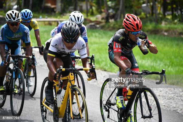 Mark John Lexer Galedo of Philippines and 7 Eleven Roadbike Philippines leads the peloton during stage 8 of the Tour de Singkarak 2017 Padang...