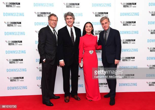 Mark Johnson Alexander Payne Hong Chau and Christoph Waltz attend the UK premiere of 'Downsizing' the BFI Patron's Gala during the London Film...