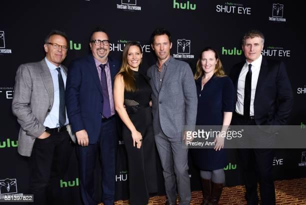 Mark Johnson John Shiban KaDee Strickland Jeffrey Donovan Melissa Bernstein and Jeff Frost attend Premiere Of Hulu's 'Shut Eye' Season 2 Red Carpet...