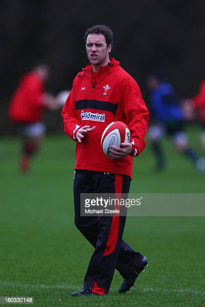 Mark Jones attacking coach of Wales during the Wales training session at Vale Resort on January 29 2013 in Cardiff Wales