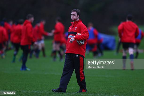 Mark Jones attacking coach of Wales looks on during the Wales training session at Vale Resort on January 29, 2013 in Cardiff, Wales.