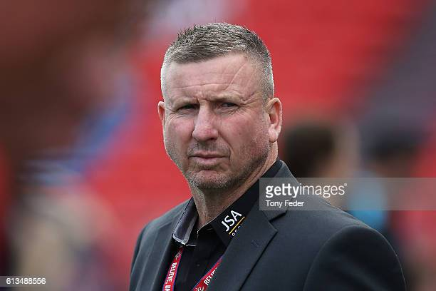 Mark Jones coach of the Jets during the round one ALeague match between the Newcastle Jets and Adelaide United at Hunter Stadium on October 9 2016 in...