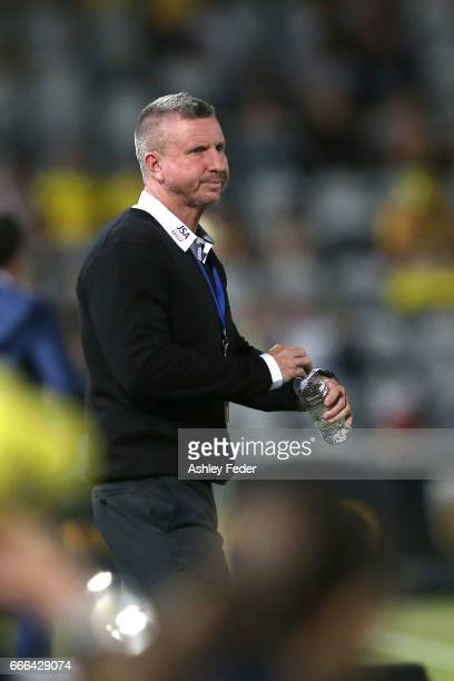 Mark Jones coach of the Jets looks on during the round 26 ALeague match between the Central Coast Mariner and the Newcastle Jets at Central Coast...