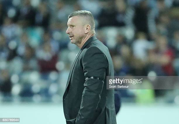 Mark Jones coach of the Jets reacts during the round 13 ALeague match between Melbourne Victory and Newcastle Jets at Simonds Stadium on January 2...