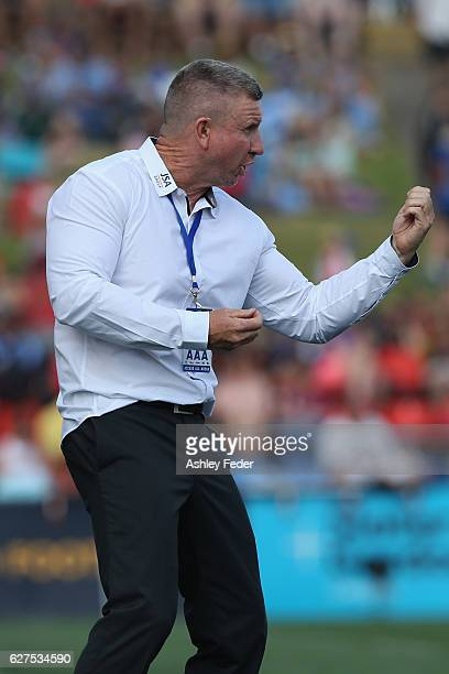 Mark Jones coach of the Jets reacts during the round nine ALeague match between the Newcastle Jets and Sydney FC at McDonald Jones Stadium on...