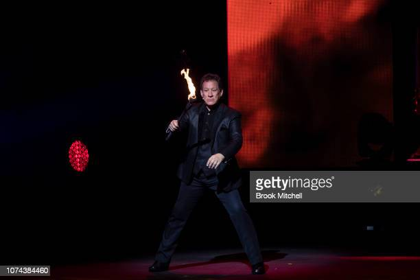 Mark Kalin performs on stage during a media call for The Illusionists Direct From Broadway at Sydney Opera House on December 19 2018 in Sydney...