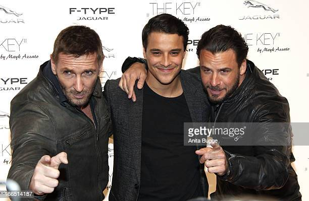 Mark Keller, Kostja Ullmann and Stephan Luca attend the Jaguar F-Type commercial short movie 'The Key' premiere at e-Werk on April 13, 2013 in...