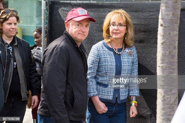 Mark Kelly and Gabrielle Giffords attend the March For Our Lives on March 24, 2018 in Washington City.