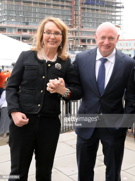 Mark Kelly and Gabrielle Giffords attends the 2018 New Jersey Hall Of Fame Induction Ceremony at Asbury Park Convention Center on May 6 2018 in...