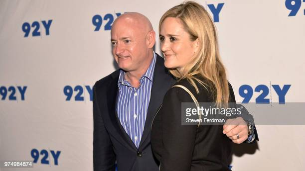 Mark Kelly and Samantha Bee pose for a photo ahead of Mark Kelly In Conversation With Samantha Bee at 92Y on June 14 2018 in New York City