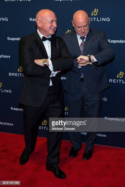 Mark Kelly and Scott Kelly attend Breitling Celebrates The North American Stopover of its Global Roadshow at Duggal Greenhouse on February 22 2018 in...