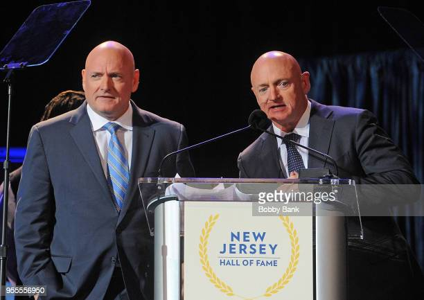 Mark Kelly and Scott Kelly attend the 2018 New Jersey Hall Of Fame Induction Ceremony at Asbury Park Convention Center on May 6 2018 in Asbury Park...