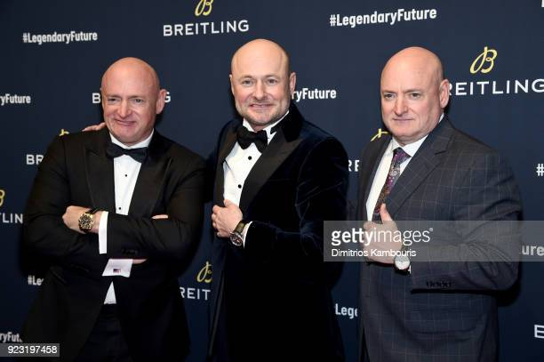 Mark Kelly Breitling CEO Georges Kern and Scott Kelly on the red carpet at the #LEGENDARYFUTURE Roadshow 2018 New York on February 22 2018