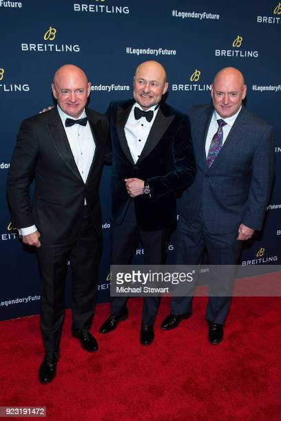 Mark Kelly Georges Kern and Scott Kelly attend Breitling Celebrates The North American Stopover of its Global Roadshow at Duggal Greenhouse on...