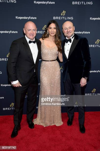 Mark Kelly Olivia Munn and Breitling CEO Georges Kern on the red carpet at the #LEGENDARYFUTURE Roadshow 2018 New York on February 22 2018
