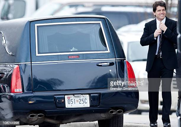 Mark Kennedy Shriver walks to the back of a hearse before the funeral of Sargent Shriver at Our Lady of Mercy Catholic Church January 22 2011 in...