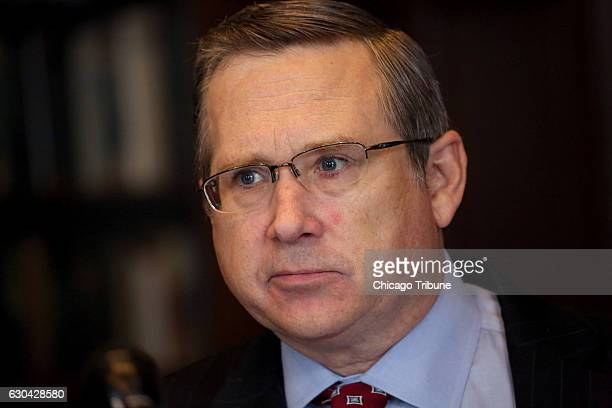 Mark Kirk answers questions from the Chicago Tribune editorial board during a joint appearance with Tammy Duckworth on Oct 3 2016 at Tribune Tower in...