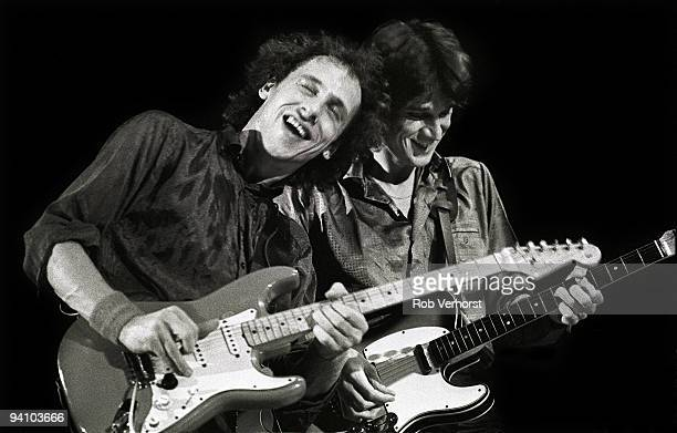 Mark Knopfler and David Knopfler from Dire Straits performs live on stage at Ahoy Rotterdam Holland on November 01 1979
