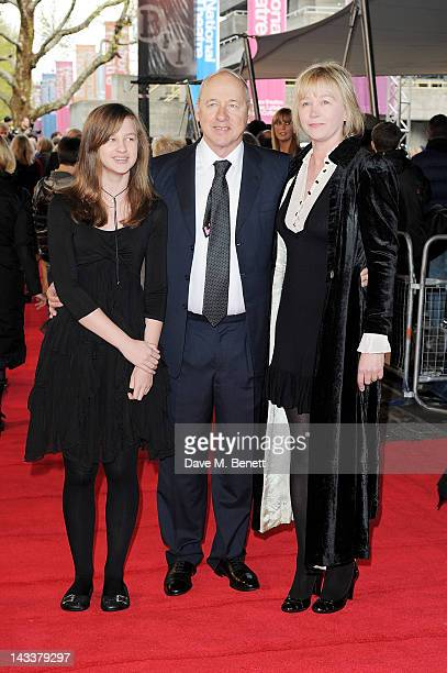 Mark Knopfler and wife Kitty Aldridge attend the UK Premiere of 'African Cats' in aid of Tusk at BFI Southbank on April 25 2012 in London England