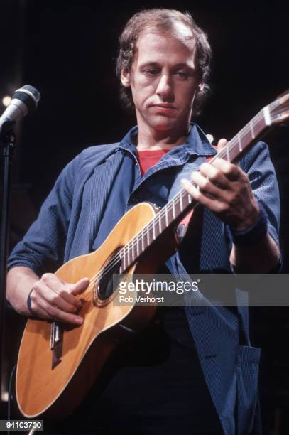 Mark Knopfler from Dire Straits performs live on stage at the Top Pop studio in Hilversum Holland on October 14 1982