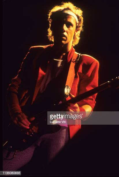 Mark Knopfler lead guitarist vocalist and songwriter of British rock band Dire Straits performing in Rome Italy 1983