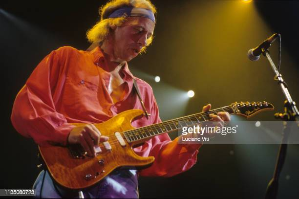 Mark Knopfler lead guitarist vocalist and songwriter of British rock band Dire Straits performing in Rome Italy 1992