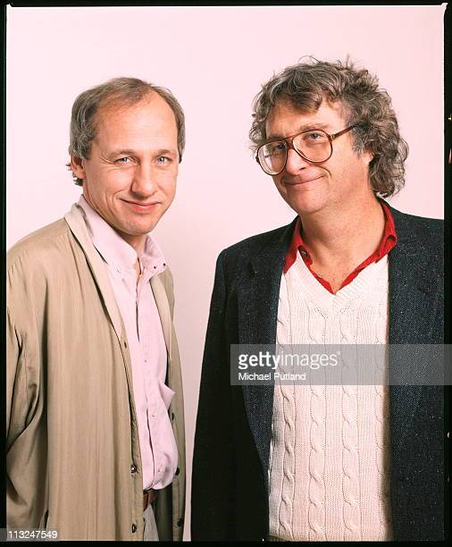 Mark Knopfler of Dire Straits and Randy Newman studio portrait London 1988