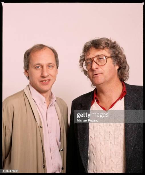 Mark Knopfler of Dire Straits and Randy Newman studio portrait London 1988