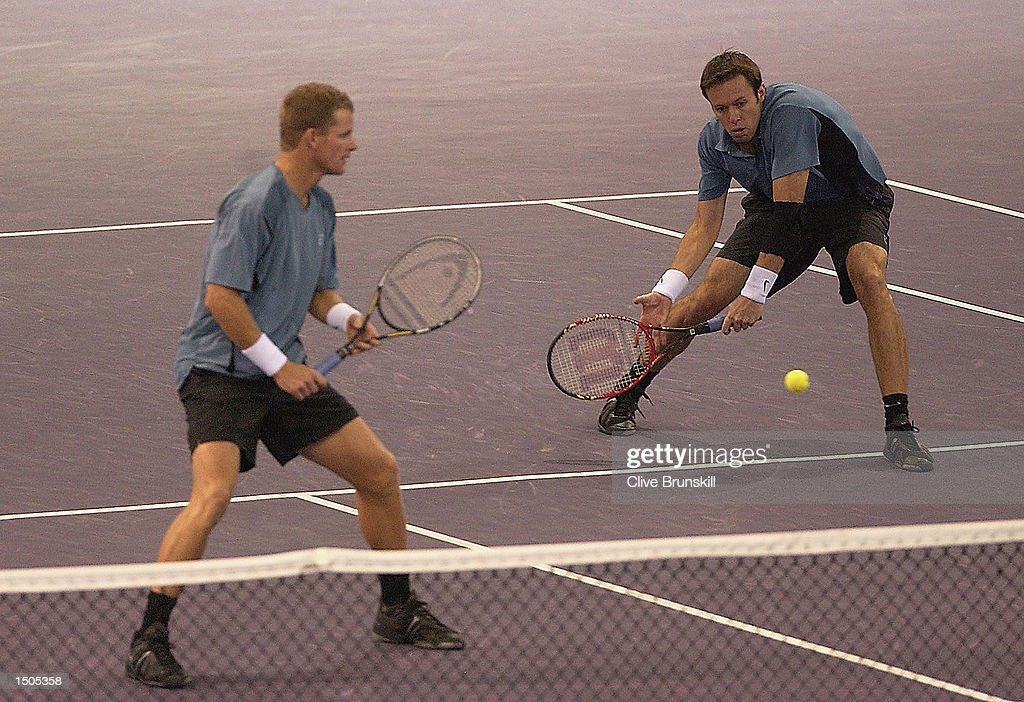 Mark Knowles and Daniel Nestor in action during their straight sets victory in the final over Mahesh Bhupathi and Max Mirnyi during the Tennis Masters Madrid at The Pabellon De Cristal, Madrid, Spain on October 20, 2002.