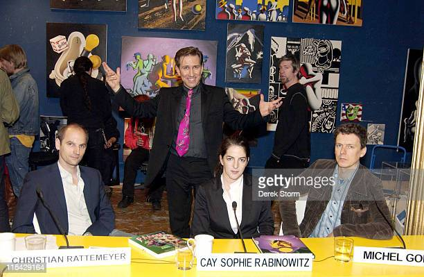 Mark Kostabi with contestants Christian Rattemeyer Cay Sophie Rabinowitz and Michel Gondry