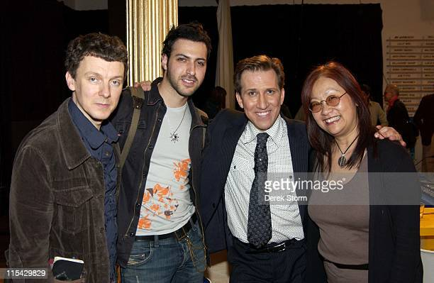 Mark Kostabi with his celebrity contestants Michel Gondry Ryan Star and May Pang