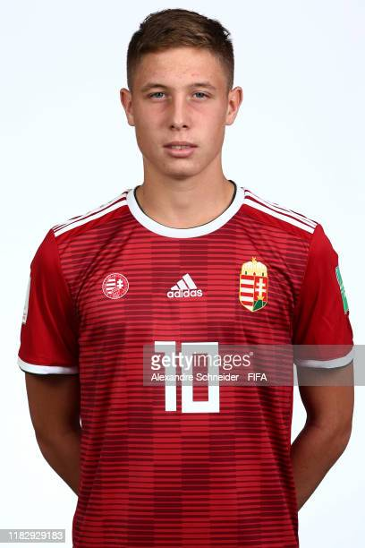 Mark Kosznovszky poses during the Hungary U17 team presentation on October 23 2019 in Goiania Brazil