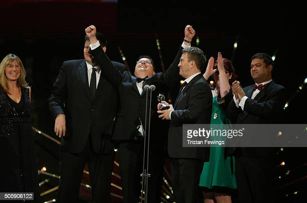 Mark Labbett and Bradley Walsh accept the award for Best Daytime for The Chase at the 21st National Television Awards at The O2 Arena on January 20...
