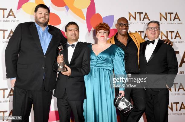 Mark Labbett Paul Sinha Jenny Ryan Shaun Wallace and guest with the award for Quiz Show for The Chase during the National Television Awards held at...