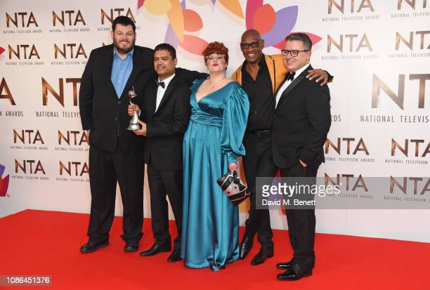 Mark Labbett Paul Sinha Jenny Ryan Shaun Wallace and Michael Kelpie accepting the Quiz Show award for The Chase pose in the Winners Room during the...