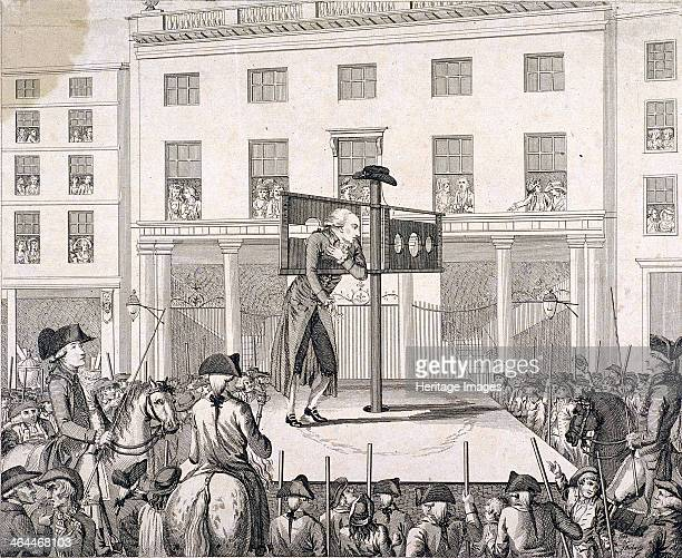 Mark Lane London 1783 Christopher Atkinson in the pillory outside the Corn Exchange London in the presence of the Sheriffs Also showing crowds...