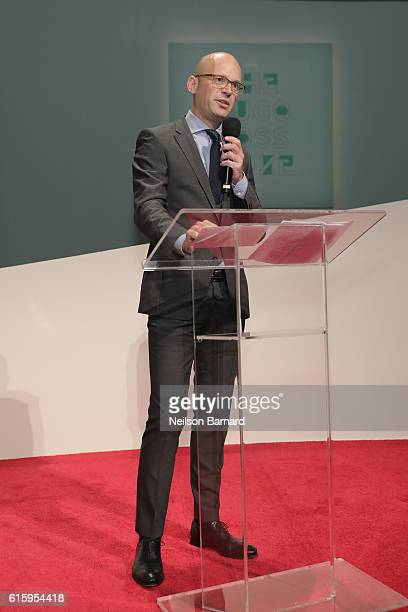 Mark Langer CEO HUGO BOSS speaks during HUGO BOSS and GUGGENHEIM celebration of the 20th Anniversary of the HUGO BOSS Prize at Solomon R Guggenheim...