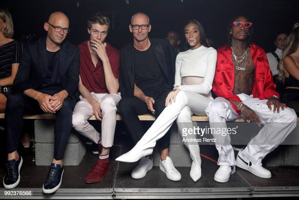 Mark Langer Lucky Blue Ingo Wilts Winnie Harlow and Wiz Khalifa attend the HUGO show during the Berlin Fashion Week Spring/Summer 2019 at Motorwerk...