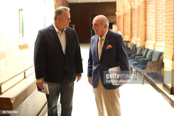 Mark Latham and Alan Jones talk at the launch of Latham's new book 'Outsiders I won't be silenced' on October 5 2017 in Sydney Australia The former...
