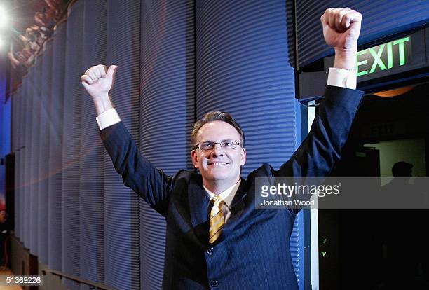 Mark Latham federal leader of the Australian Labor Party gestures to the crowd after his speech at the Official Federal Election Campaign Launch at...